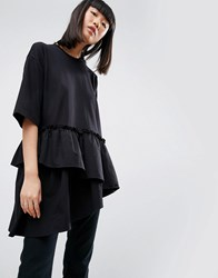 Asos White T Shirt With Contrast Layered Frill Hem Black