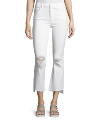 Mother Insider Cropp Step Fray Distressed Jeans White