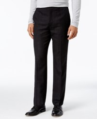 Alfani Collection Men's Classic Fit Textured Crosshatch Flat Front Pants Black Combo