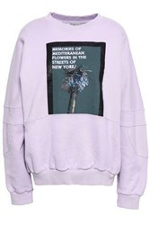 Each X Other Embroidered Printed French Cotton Terry Sweatshirt Lilac