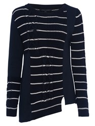 French Connection Cable Stripe Jumper Utility Blue Summer White