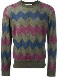 Missoni Vintage Zig Zag Pattern Jumper Green