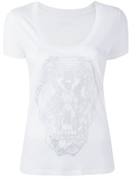 Zadig And Voltaire Stylised Skull Print T Shirt White