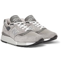 New Balance 998 Suede Textured Leather And Mesh Sneakers Gray