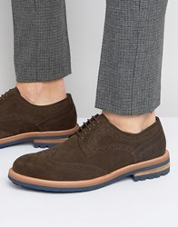 Dune Blind Side Suede Derby Brogue Shoes Brown