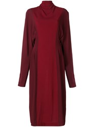 Victoria Beckham Two Tone Roll Neck Dress Red