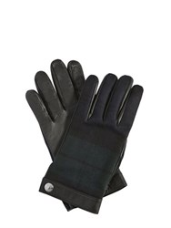 Dsquared Check Wool Flannel And Leather Gloves