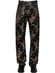 Martine Rose Straight Leg Viscose Jacquard Pants Black