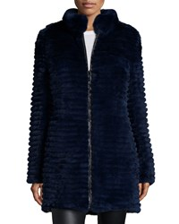 Belle Fare Reversible Layered Rabbit Fur Coat White Black