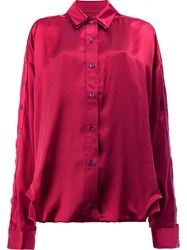 Y Project Buttoned Sleeve Shirt Silk M Red
