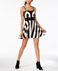 Material Girl Juniors' Striped Illusion Fit And Flare Dress Created For Macy's Caviar Black Combo