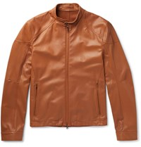 Connolly Slim Fit Leather Racing Jacket Tan