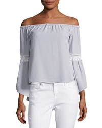 English Factory Off The Shoulder Bell Sleeve Top Sky