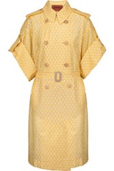 Missoni Belted Crochet Knit Coat Yellow