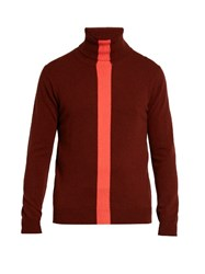 Paul Smith Contrast Stripe Roll Neck Cashmere Sweater Red Multi