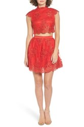A. Drea Lace Cap Sleeve Two Piece Skater Dress Red