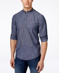 Alfani Black Men's Warren Plaid Banded Collar Long Sleeve Shirt Only At Macy's