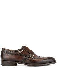 Magnanni Perforated Monk Shoes Brown