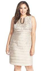 Plus Size Women's London Times Embellished Sleeveless Shimmer Tiered Sheath Dress Sanddollar