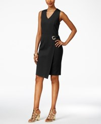Thalia Sodi Asymmetrical Faux Wrap Dress Only At Macy's Deep Black