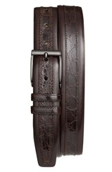 Men's Mezlan 'Parma' Calfskin And Genuine Crocodile Leather Belt