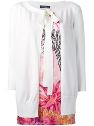 Salvatore Ferragamo Bow Open Front Cardigan White