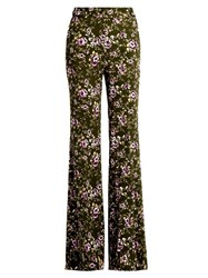 Rochas Rose Print Flared Leg Cady Trousers Green Multi