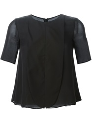 Emporio Armani Bib Detail Shortsleeved Blouse Black