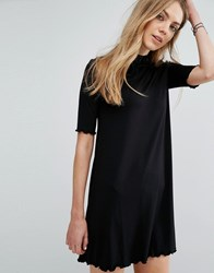 Pull And Bear Frill Sleeve Swing Dress Black