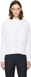 Thom Browne White Knit Hooded Cardigan