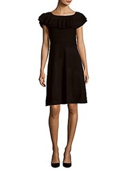Saks Fifth Avenue Boatneck Ruffled A Line Dress Black