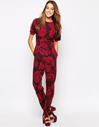 Motel Lilah Jumpsuit In Tonal Floral Print Red