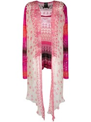 Jean Paul Gaultier Vintage Crochet Knit Shawl Cardigan Pink And Purple