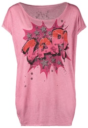 Bloom Print Tshirt Leather Rose Red