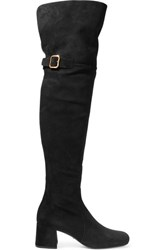 Prada Suede Over The Knee Boots Black