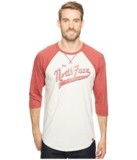 The North Face 3 4 Americana Baseball Tee Vintage White Heather Cardinal Red Heather Men's Long Sleeve Pullover