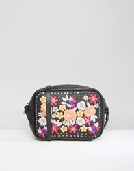Asos Leather Summer Floral Embroidered Cross Body Bag Black Multi