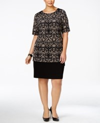 Connected Plus Size Printed Colorblocked Dress
