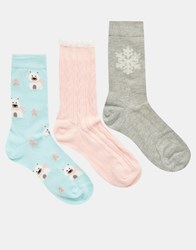 Totes Polar Bear 3 Pack Day Sock Pastel Polar Bear Multi