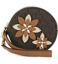 Michael Michael Kors Flower Leather Pouch Brown