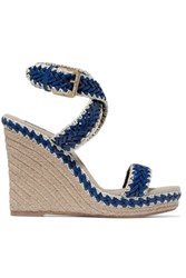 Tory Burch Lilah Leather And Linen Wedge Sandals Bright Blue