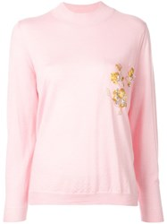 Delpozo Flower Embroidery Jumper Pink