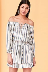 Astr Blair Off The Shoulder Blouson Mini Dress Cream Multi