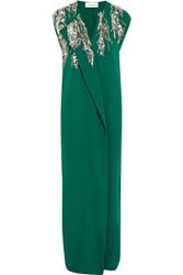 By Malene Birger Kalynasia Draped Embellished Crepe Gown Emerald