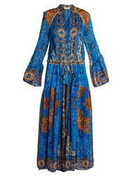 Etro Paisley Print Pleated Silk Chiffon Gown Blue White