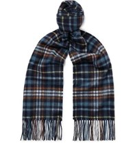 Johnstons Of Elgin Fringed Checked Cashmere Scarf Navy