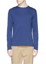 Isaia Silk Cotton Long Sleeve Crew Neck T Shirt Blue