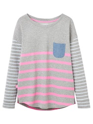 Joules Tally Contrast Stripe Jersey Top Grey Marl