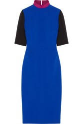 Roksanda Ilincic Livani Color Block Crepe Midi Dress Bright Blue