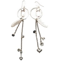 Tiana Jewel Hoop Tassel Charm Earrings Silver